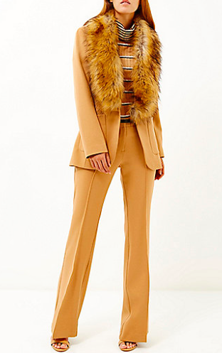 Camel Woven Flared Trousers RI £40
