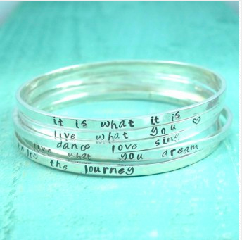 Personalised My Story Sterling Silver Bangle