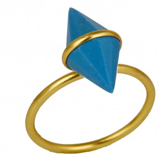 Turquoise Spike Gemstone Gold Vermeil Stacking Ring