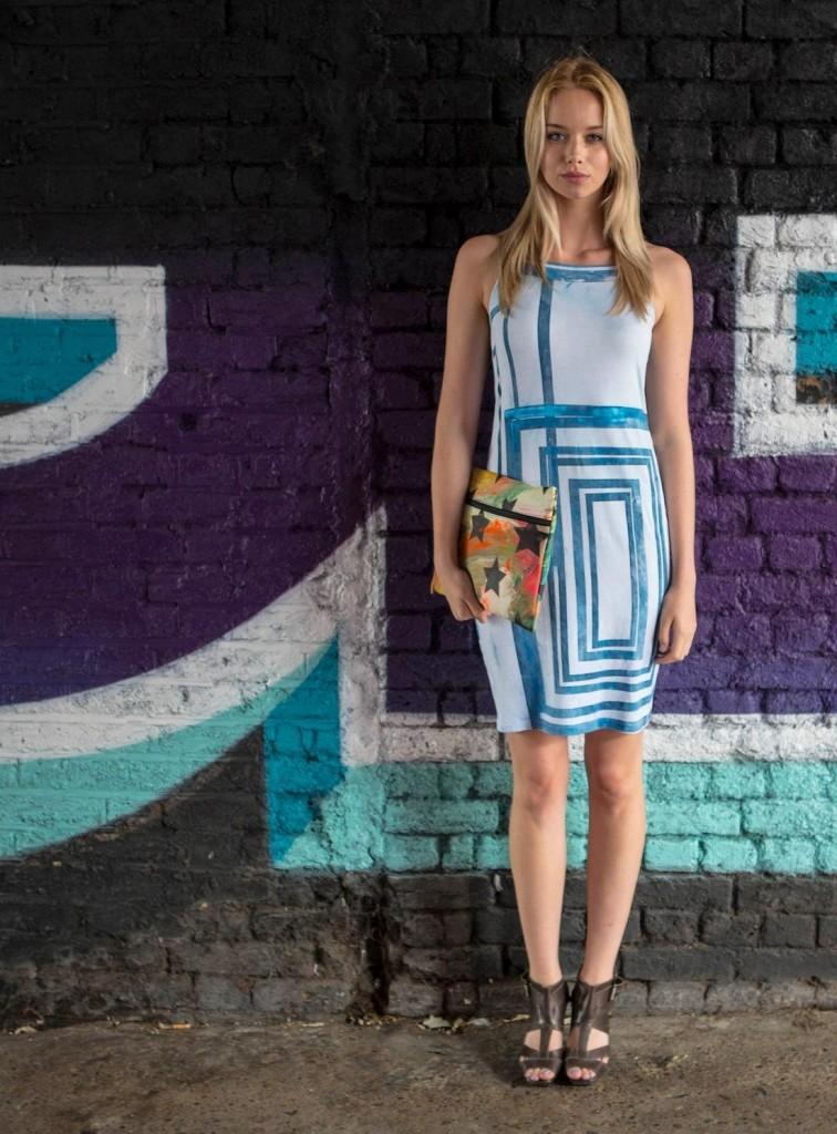 Simeon Farrar Slim Strap Jersey Dress with Blue Box Wash