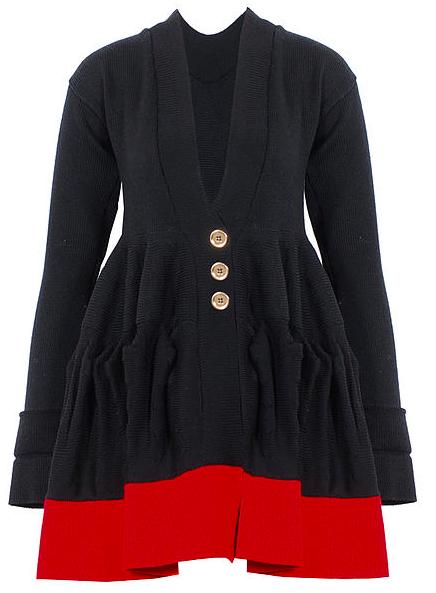 Black/red long oscar flared cardigan