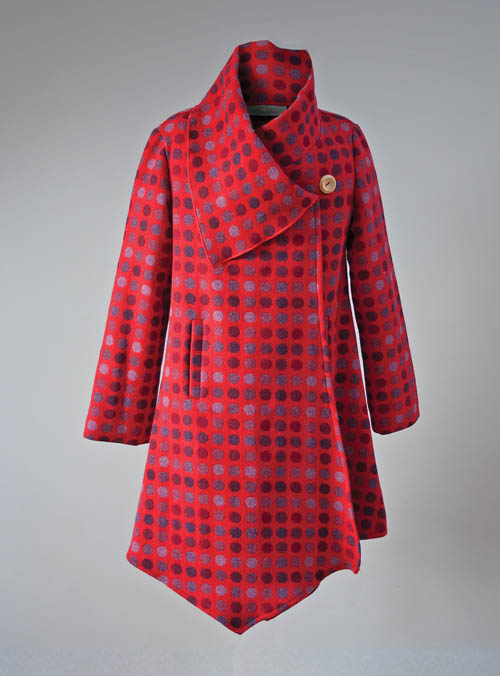 Red Berry Draped Coat